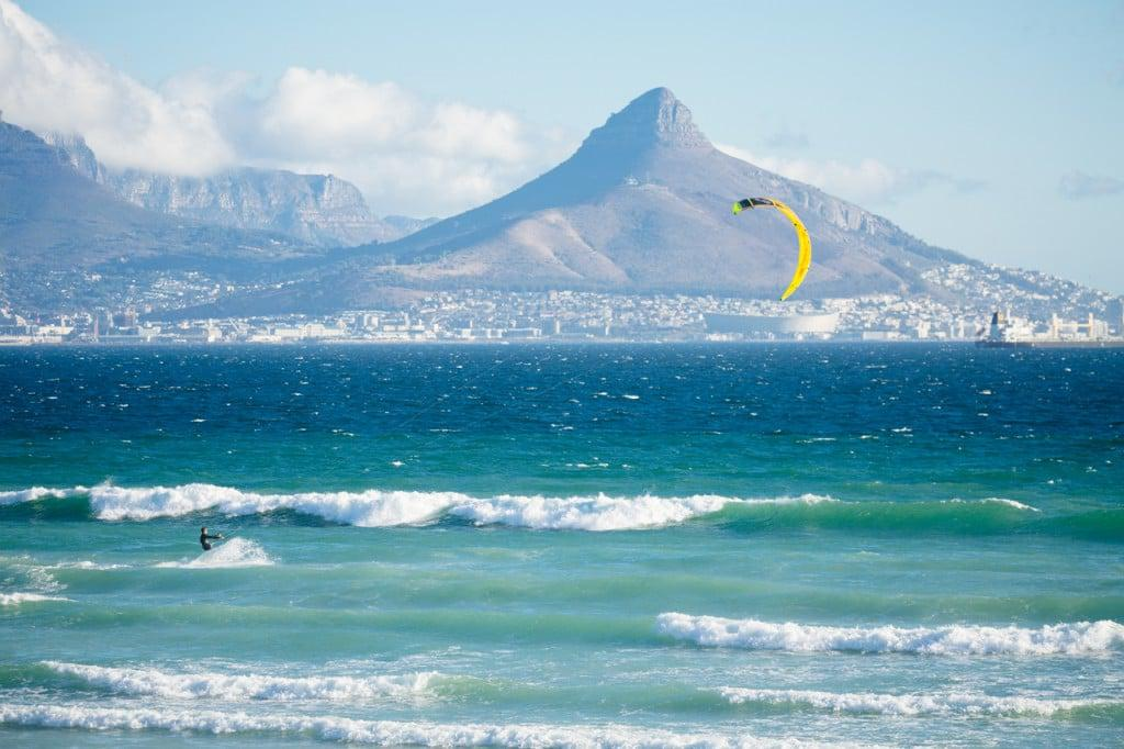 Blaauwberg kite surfer with lions head