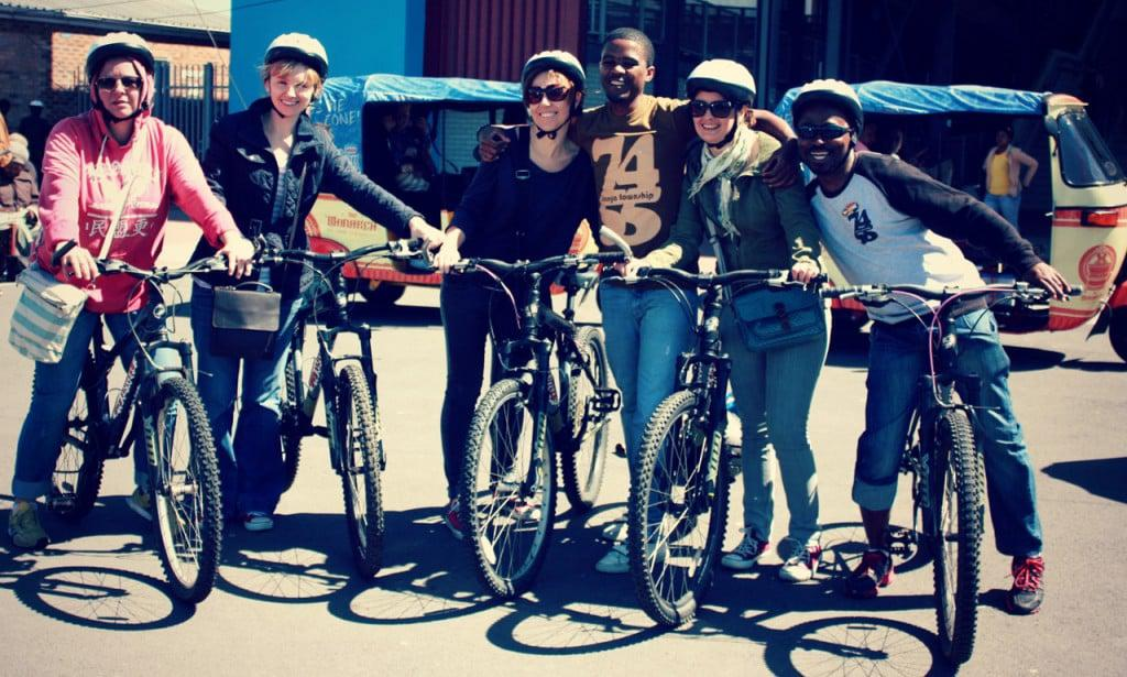 tourists on cycle tour in Langa