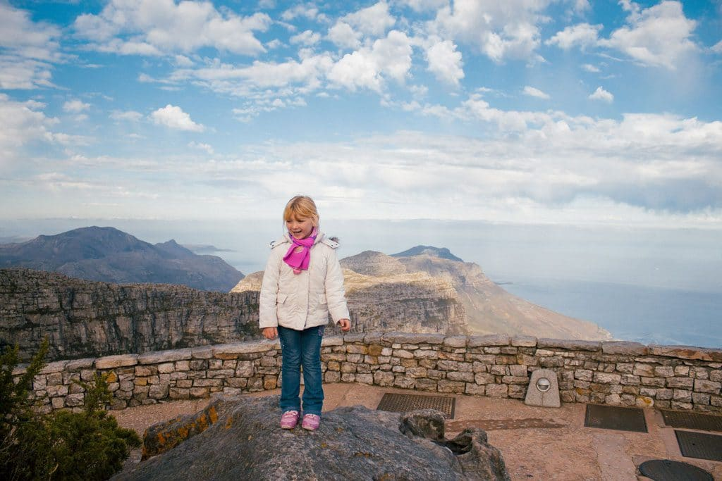 Kid on top of Table Mountain
