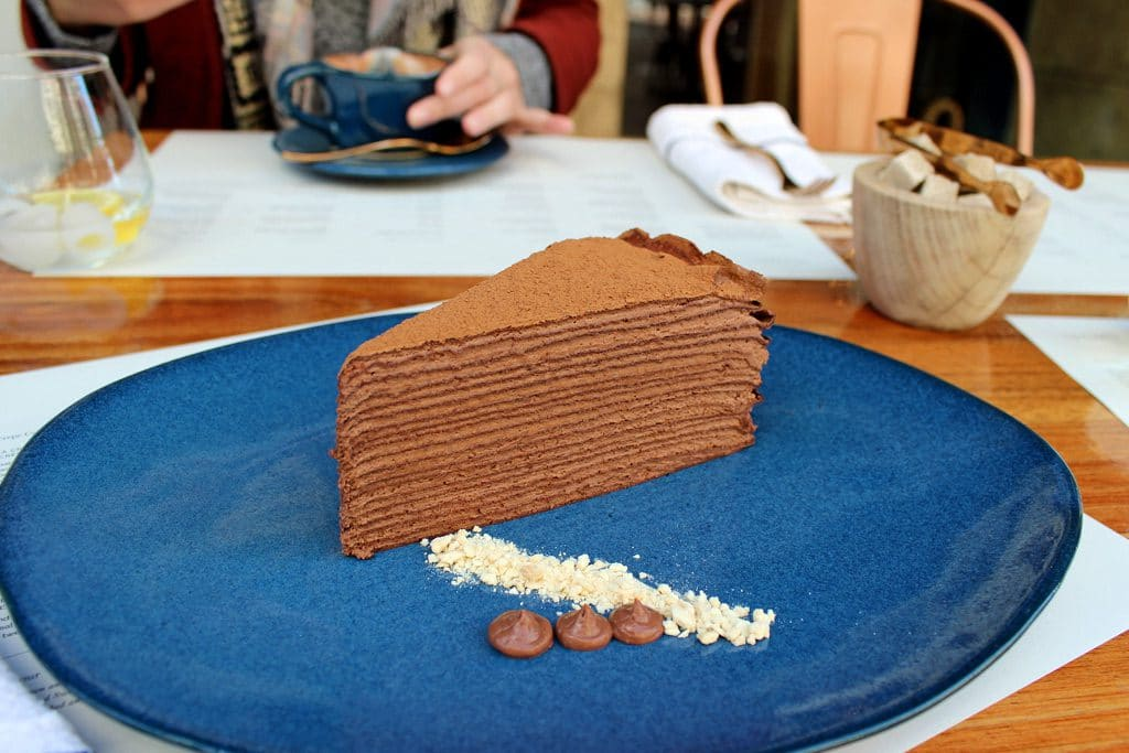 Chocolate Mille Crepe Cake from Localli in the Cape Town CBD
