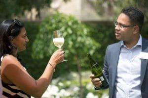 Tsogo Sun's GM Communications Priya Naidoo with Group Sommelier Miguel Chan