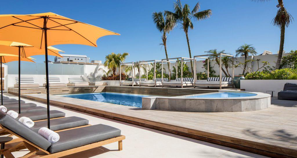 The pool deck at CASA at the Ritz in Sea Point