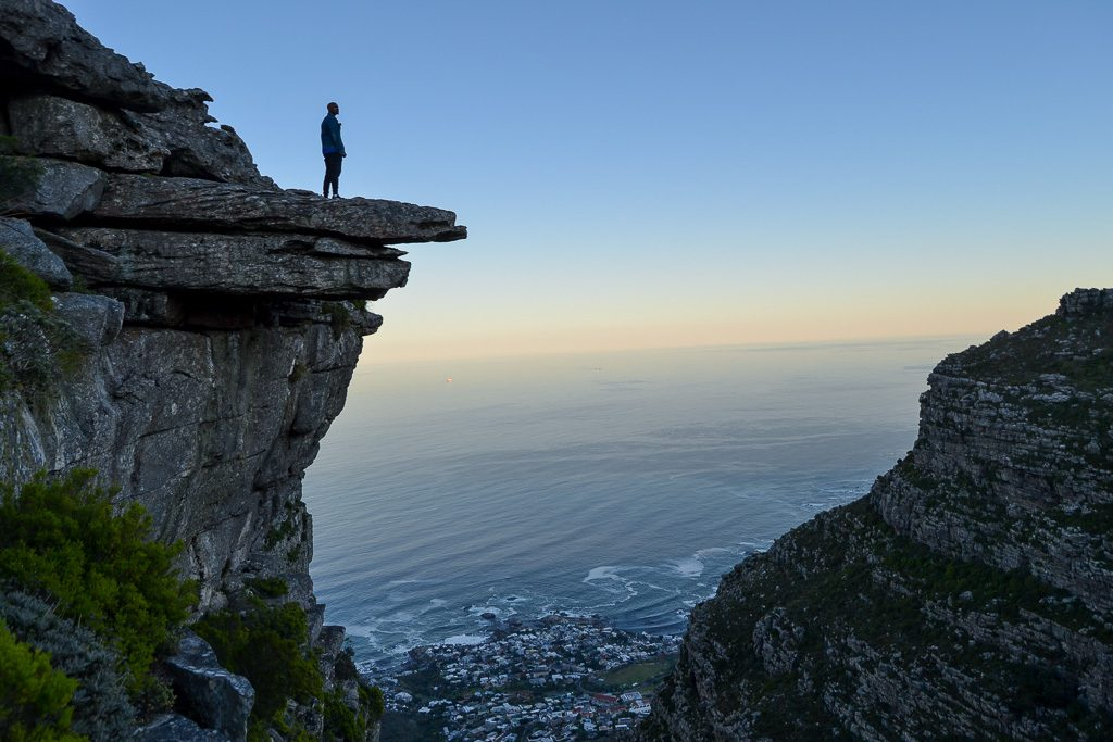 The view of Lion's Head at sunrise from Table Mountain's Kasteelspoort Route