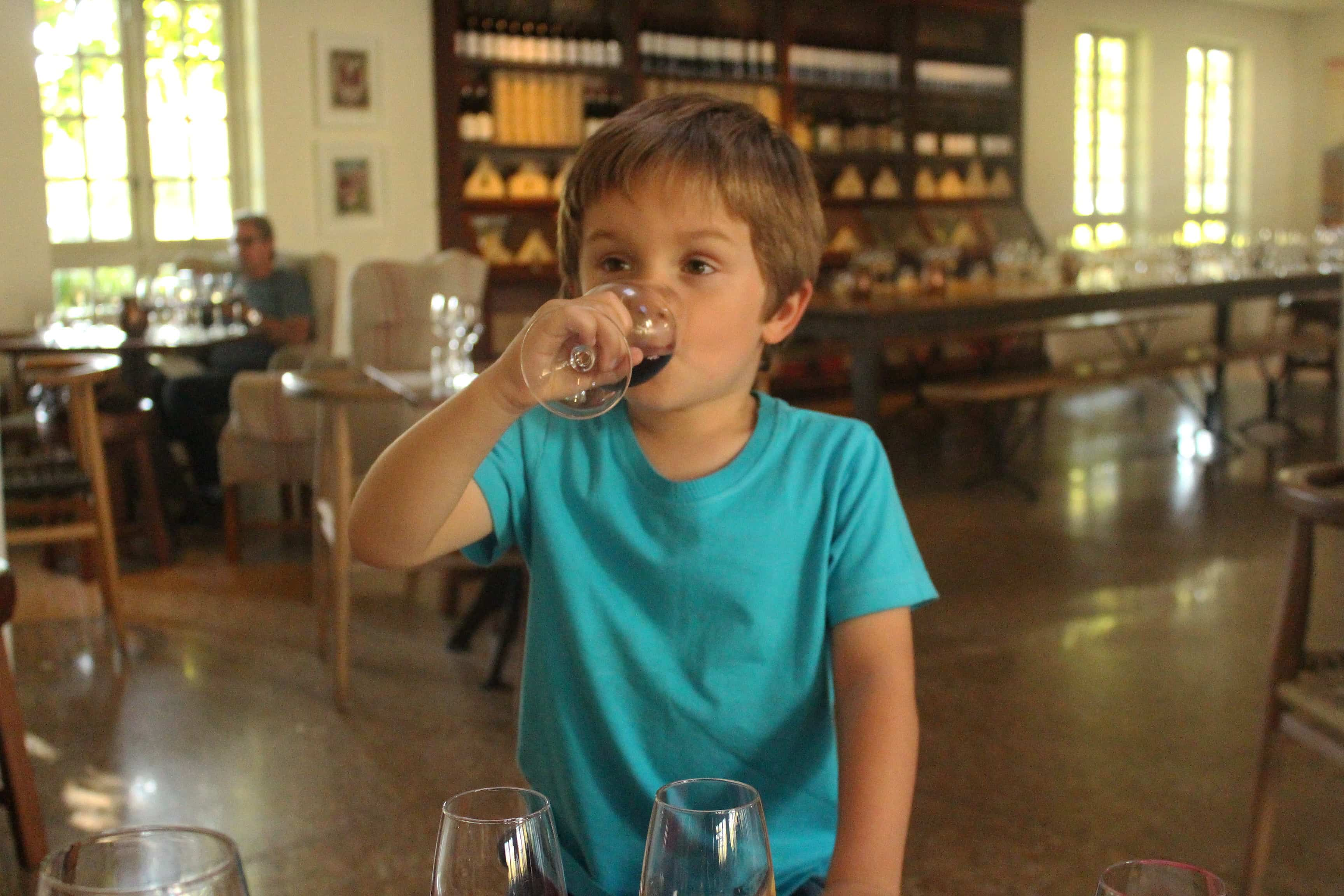Boy drinking grape juice