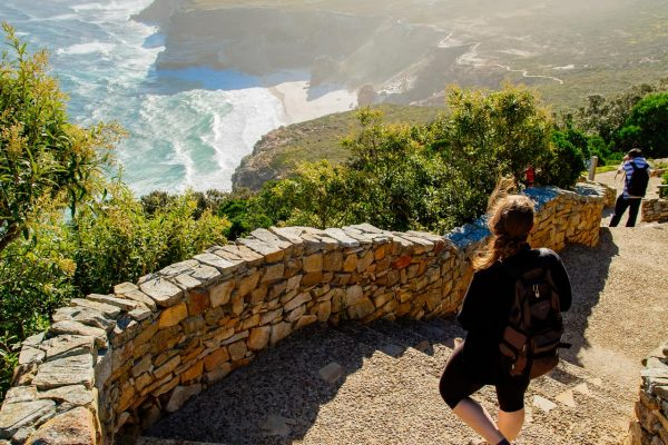 woman on Cape Point steps