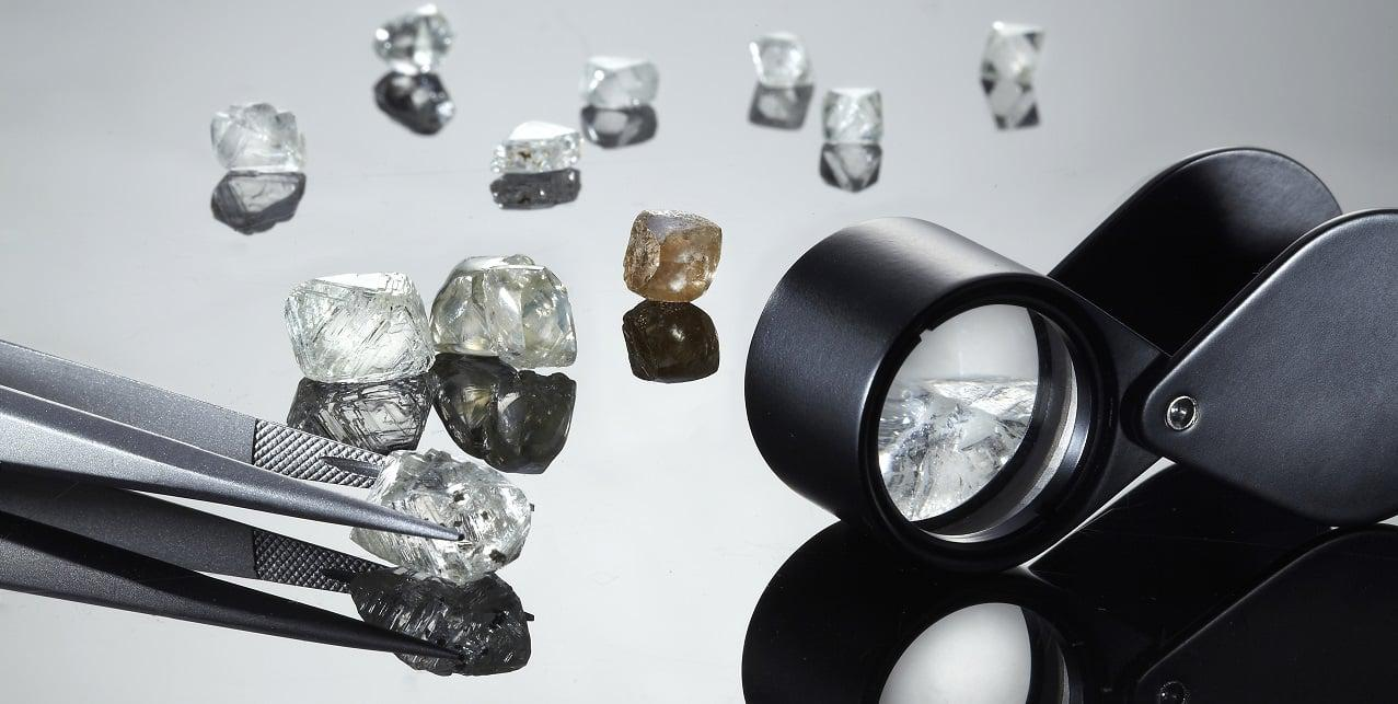 Rough diamonds ready to be cut