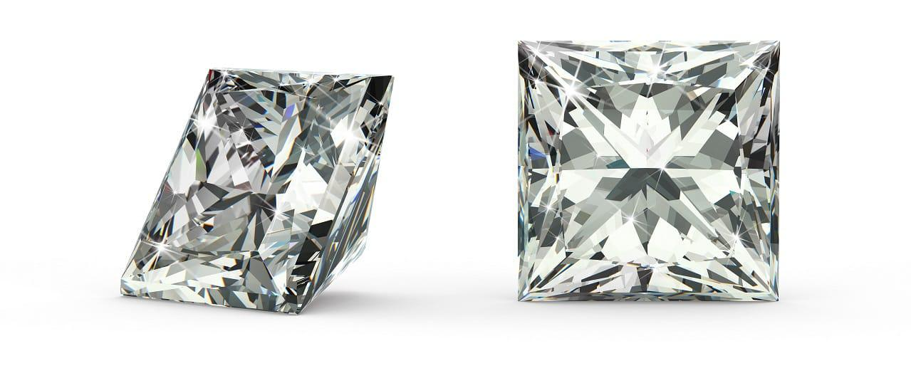 A Princess Cut Diamond. Image supplied by the Diamond Gallery.