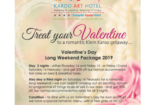 Valentine's Long Weekend Package at Karoo Art Hotel, Barrydale